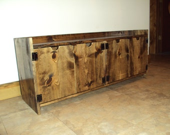 Reclaimed Wood look Storage bench Rustic Entry Bench Mud room Bench Old barn wood look TV Stand Tv Cabinet Media Console Primitive