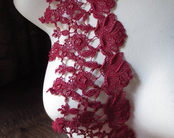 Red Lace Venise Style Trim for Bridal,  Costume or Jewelry Design L 207red