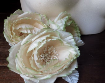 Silk Cupped Millinery Rose in Ivory with Green Tipped Petals for Bridal, Hats, Fascinators, Corsages, Floral Design, Costumes MF 132