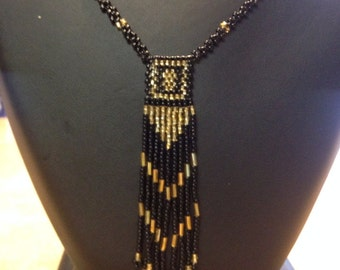 Black/Gold Seed Bead Necklace