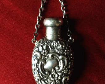 French antique embossed screw top chatelaine salt bottle