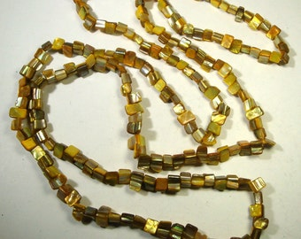 Long YELLOW Mother of Pearl Necklace,  Pearlized Chunky Shell Beads,  MERMAID 5 Foot Long Seashell Nuggets 1980s