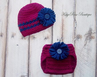 Newborn to 3 Month Old Baby Girl Crochet Flower Hat and Diaper Cover Set Purple and Navy Blue