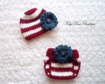 4th of July Newborn Baby Girl Crochet Flower Hat and Diaper Cover Set Red White and Blue Stripes