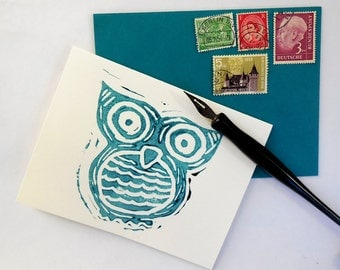 Hand Printed Cards-NIght Owl Set of 5