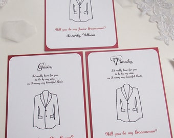 Best Man Invitation 5x7- COLORED INK- Will you be my- Wedding- Groomsman-Usher-Ring Bearer-Tuxedo