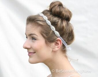 Crystal Rhinestone Head Band Ribbon Tie Bohemain Bridal Headpiece in Gold or Silver, Rhinetone Headpiece Crystal Tie Beaded Bridal Headband