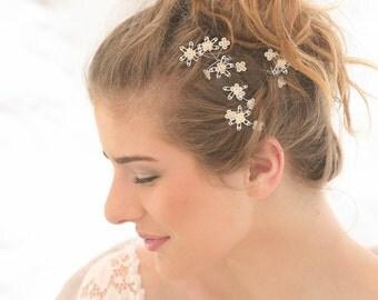Wedding Hair Bobby Pin Set with Vintage Sequin Flowers, Bridal Hair Accessories, Vintage Look Bobby Pin Set , Bridal Hair Clips