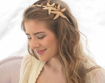 Starfish Headband, Beach Wedding Hair Accessory, Sea Shell Wedding Headband, Bohemian Beach Hair Accessory