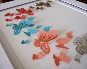 At the Beach 3D Butterfly Art. Kraft, Coral, Aqua, Peach, Sand. Paper Butterfly Wall Art. 8x10. Made to Order