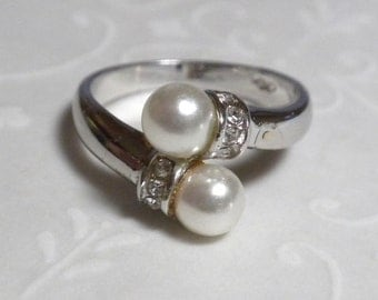 Pearl and Rhinestone Silver Ring - Size 5 - Double Faux Pearls
