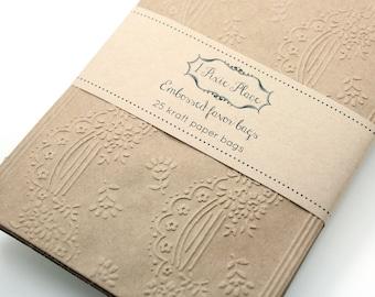 Lace Embossed Kraft Paper Bags - Weddings, Showers, birthdays - LARGE