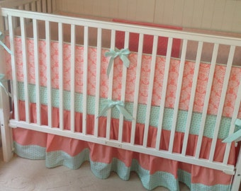 Crib Bedding Set Mint and Coral Damask Made to Order