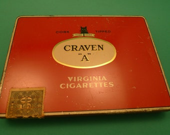 """Vintage Craven """"A"""" Cigarettes Tin Case"""