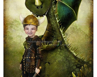 5x7 Art Print 'Evan' - A Little Boy and His Pet Dragon - Fantasy Illustration - Child's Bedroom Artwork by Jessica G