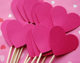 Hot Pink Heart Cupcake Toppers--Set of 12--Heart Party-Valentine-Wedding Shower Topper-Wedding Cupcake Pick-Heart Baby Shower- Ready to Ship