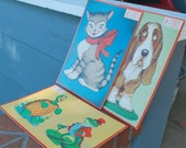 Vintage Cardboard Puzzles Set of 3 Milton Bradley