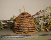 Blackened Bee Skep Shaped Beeswax Candle- made with pure beeswax rubbed with ground clove and cinnamon