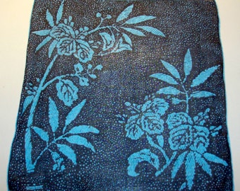 Designer Marielle Handkerchief with Turquoise and Black Bamboo Design