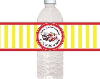 Custom Water Bottle Labels, Fire Truck Birthday Water Bottle Labels, Fire Truck Water Bottle Labels, Fit on 16.9 oz water bottles