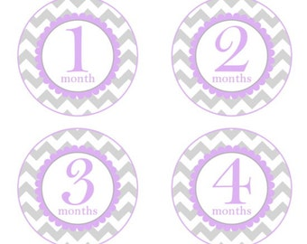 Baby Month to Month Stickers, Monthly Birthday Stickers for Baby, Chevron Photo Prop Birthday Stickers, Chevron and Purple/Lavender