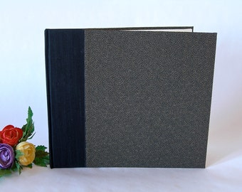 Lined wedding  guest book - black with gold dots chiyogami - 8x9in 20x23cm -Ready to ship