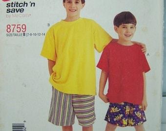 McCall's 8759 Boy's Pattern, SALE Boy's Elastic Waist Shorts, Loose Fitting T Shirt, Easy to Sew Boy's Pattern, Size 7 - 14, Pattern Destash