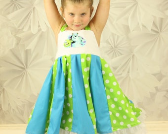 custom boutique dress made with monster patch  size 2-6