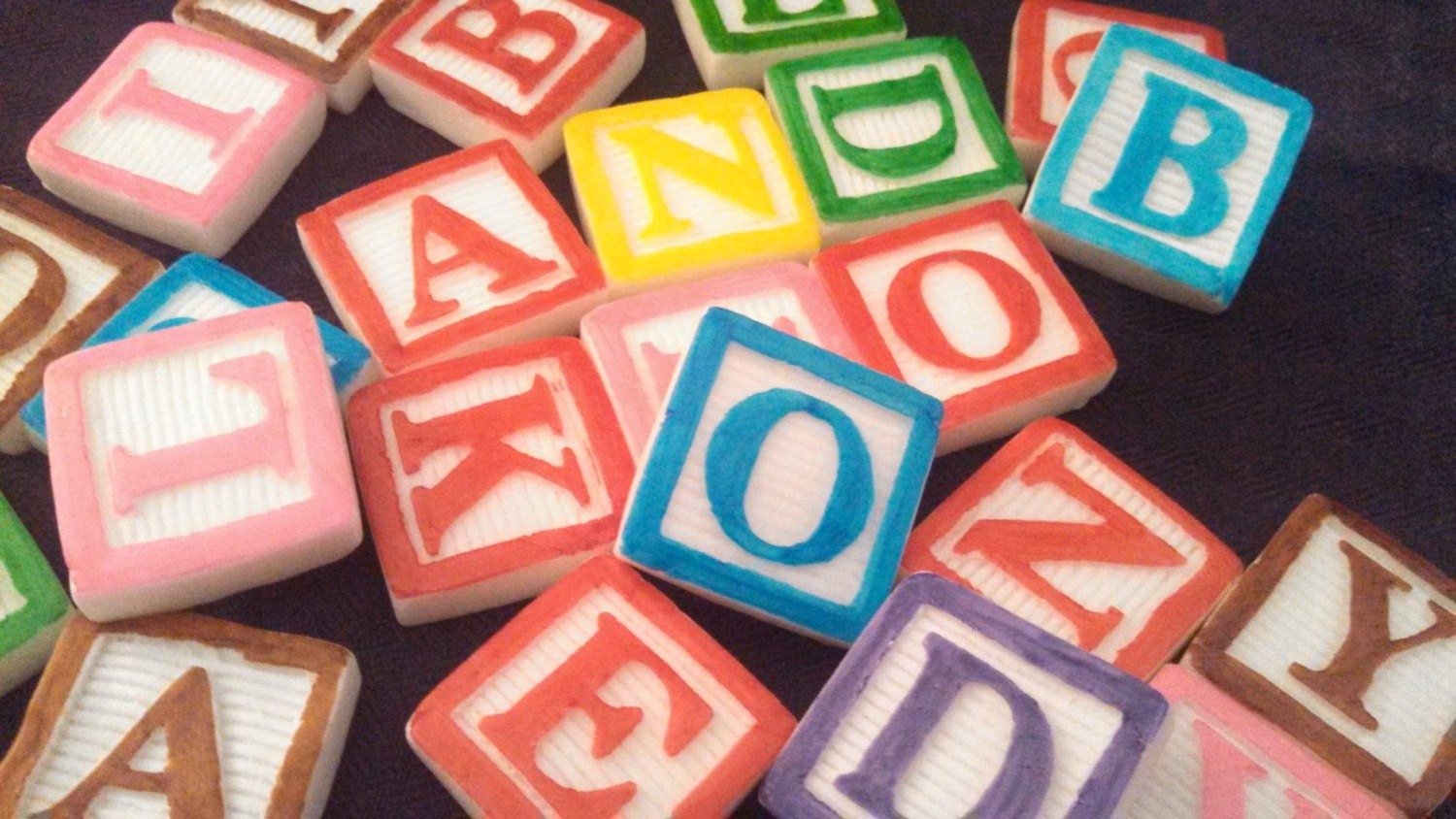 Set of 6 edible fondant candy block letters cake cupcake for Alphabet blocks cake decoration