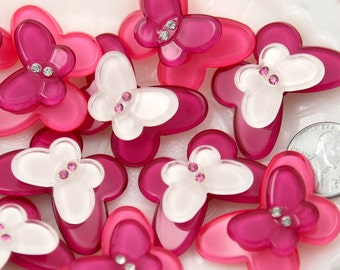 Butterfly Resin Cabochons - 34mm Pink Butterfly Resin Flatback Cabochons - 5 pc set