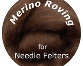 "Merino Roving 16"" BROWN Perfect for Needle Felting, Doll Hair, Animal Fur"