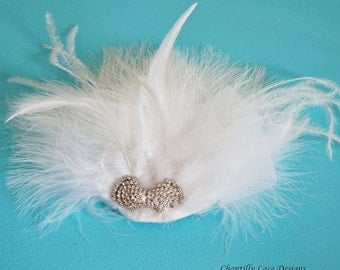White Feather and Tulle Rhinestone Vintage Inspired Fascinator
