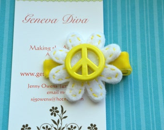 Peace and Flowers....Handstitched Felt Flower Hairclip in Yellow