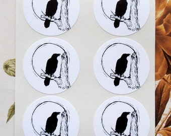 Halloween Raven Falcon Crow Stickers Envelope Seals SP071