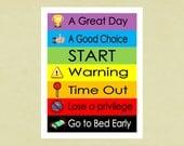 Printable Behavior Chart for children--Instant download, color coded