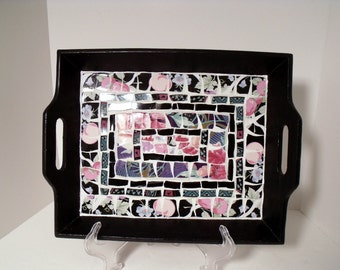 Mosaic Tray  Black with Pink and White Floral