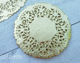 "4"" Metallic Gold Lace Doilies - Set of 25"