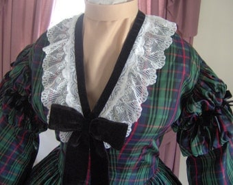 FOR ORDERS ONLY Custom Made - 1800s Victorian Dress 1860s Civil War Day Gown - Picnic Tea Bridal - Reenactor Costume Bodice Skirt