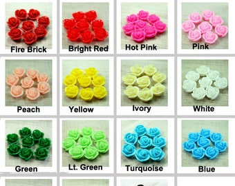 14mm Rose Flower Cabochon Cabs Resin Flat Back For Glue On - Pick Your Color- 8pcs