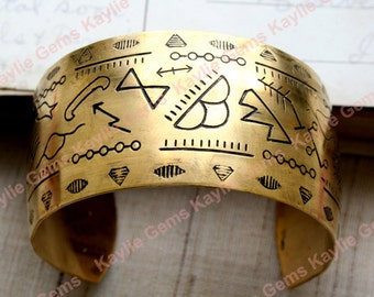 "Amazing Cuff Bracelet Ancient Egypt Egyptian Hieroglyphic Symbol Design Etched Detailed Raw Brass 1.25"" Wide Premium Quality USA 1 Pc"