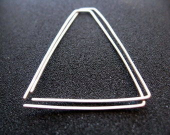 triangle hoop earrings. sterling silver hoops. geometric jewelry. splurge.