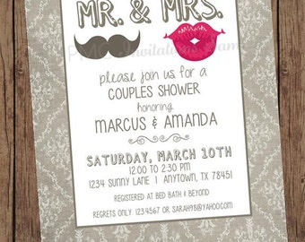 Mr and Mrs Couples Shower Invitations - 1.00 each with envelope