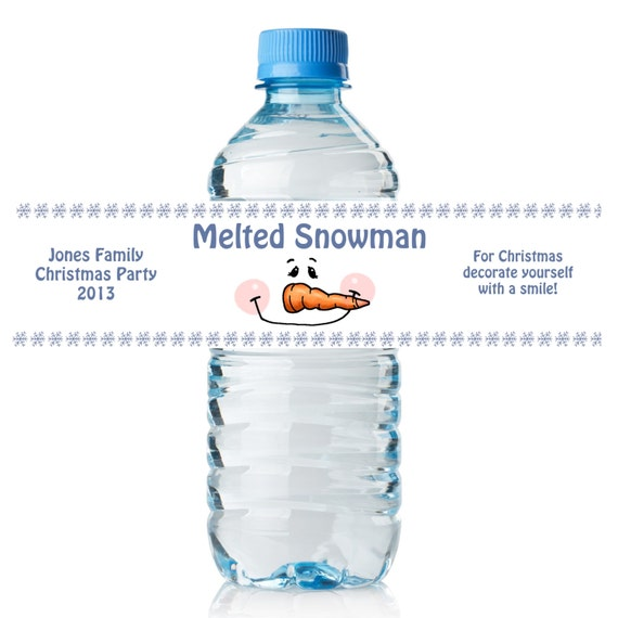 Accomplished image regarding melted snowman water bottle labels free printable
