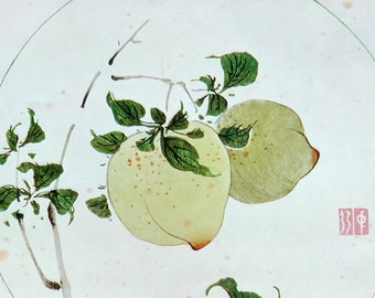 Vintage 50s print of Asian ink watercolor minimalist painting Two Peaches On A Branch ethereal white green yellow elegant tree in circle