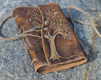 Wedding guest book Tree of Life leather journal weddings bridal shower engagement anniversary