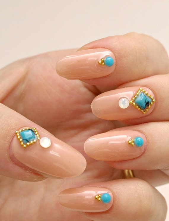 Simple nail art party nail nail gem beige nail press on like this item prinsesfo Image collections