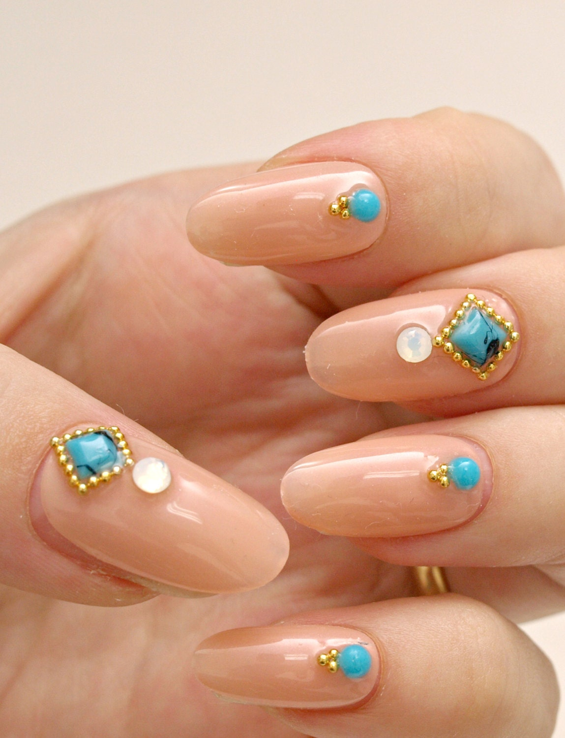 Easy Nail Art With Gems : Simple nail art party gem beige press on