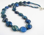 Cobalt Blue Ocean Jasper Beaded Necklace, Handmade by Harleypaws, SRAJD