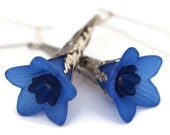 Blue Flower Earrings, Blue Lucite Trumpet with Dark Blue Bell Flower Earrings with Silver Colored Findings