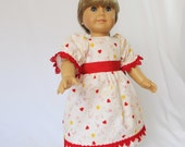18 Inch Doll Dress ABC Print with Red Heart Trim and Buttons Red Band Size Puffed Sleeves Gathered Skirt School Dress